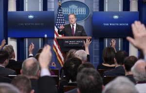 White House Press Secretary Sean Spicer speaks during the daily briefing in the Brady Briefing Room of the White House on February 23, 2017 in the Washington, DC. (Credit: MANDEL NGAN/AFP/Getty Images)