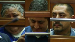 Johanna Lopez, Ramiro Valerio and Joseph Monge appeared at their arraignment in court in downtown L.A. on Feb. 7, 2017. (Credit: KTLA)