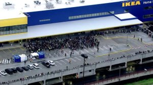 A crowd gathers for the grand opening of the new IKEA store in Burbank on Feb. 8, 2017. (Credit: KTLA)