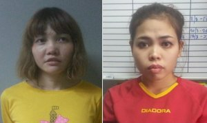 Doan Thi Huong of Vietnam, left, and Siti Aishah of Indonesia are shown in booking photos released by authorities. (Credit: CNN)