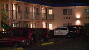 A woman allegedly tried to kill a man at the Rodeo Inn in Lynwood, Washington, on Jan. 30, 2017. (Credit: KCPQ)