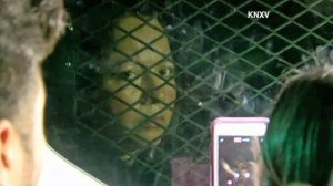 Guadalupe Garcia de Rayos is seen locked in a van on Feb. 8, 2017, outside ICE headquarters in Phoenix. (Credit: KNXV via CNN)