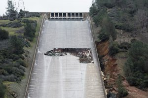 An eroded section of the Oroville Dam spillway is seen in this image provided by the California Department of Water Resources.