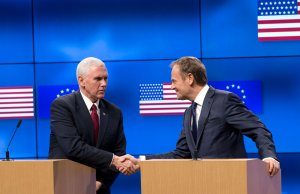 Vice-President Mike Pence (L) shakes hands with European Council head Donald Tusk (R) during a press conference at the European Commission in Brussels on Feb. 20, 2017. (Credit: Virginia Mayo /AFP/Getty Images)