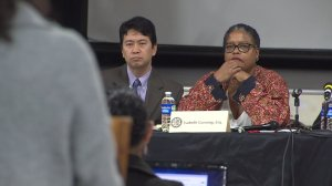 L.A. County human relations commissioners listen as South Los Angeles residents share their experiences with police in the community. (Credit: KTLA)