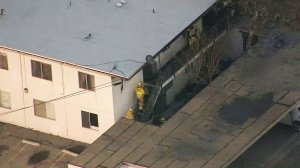 Fire crews were called to an apartment fire in Port Hueneme on Feb. 24, 2017. (Credit: KTLA)