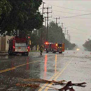 Clybourn Avenue in Burbank was temporarily closed on Friday after the storm downed power lines on the street. (Credit: Burbank Police Department)