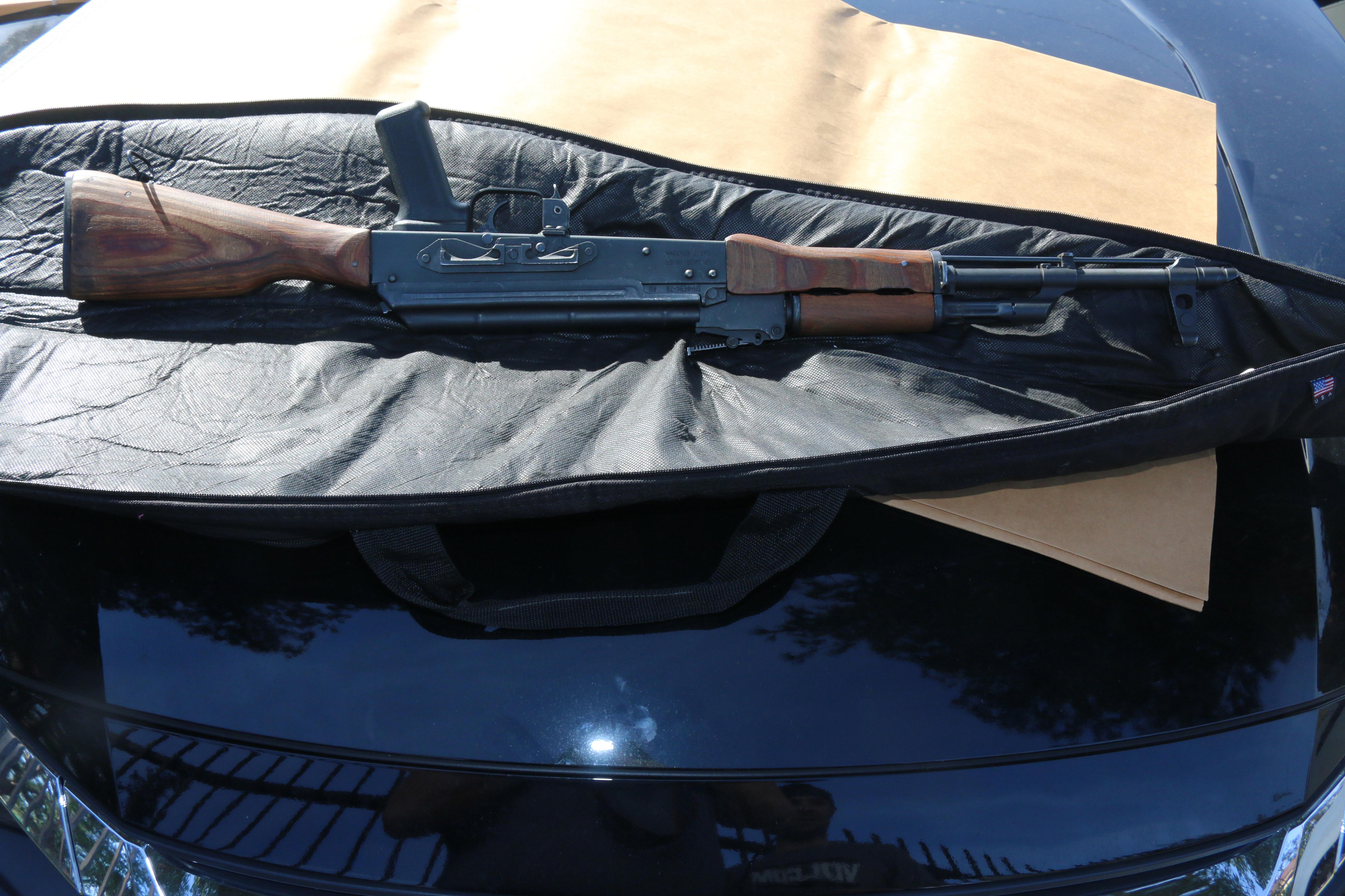 A rifle used in a double shooting near an Anaheim high school is seen in a photo released by police on Feb. 2, 2017.