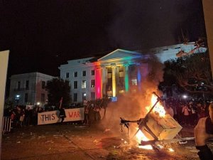 Protests turned violent at UC Berkeley, where right-wing speaker Milo Yiannopoulos was set to speak on Feb. 1, 2017. (Credit: Trevor Laity via CNN)