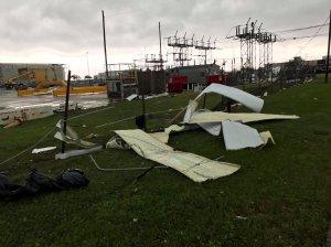 A tornado hits NASA's Michoud Assembly Facility in New Orleans, Louisiana on Feb 7, 2017. (Credit: Jonathan Simeral)