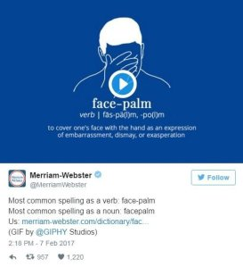"""Ghost,"""" """"side-eye"""" and """"facepalm"""" are now included in the official Merriam-Webster's dictionary. (Credit: @MerriamWebster/Twitter)"""
