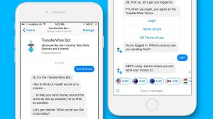 The money transfer startup TransferWise has launched a new chatbot that enables Facebook (FB, Tech30) users to move funds abroad using the social platform's Messenger service. (Credit: Facebook)
