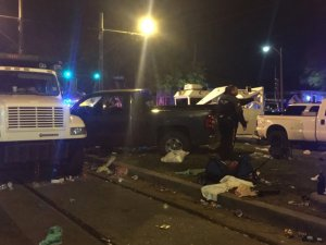 Several people were hurt after a pickup truck plowed into a New Orleans Mardi Gras parade crowd on Feb. 25, 2017. (Credit: WGNO via CNN)
