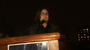 Rosie O'Donnell's protested outside the White House on Feb. 28, 2017 ahead of President Donald Trump's Joint Address to Congress. (Credit: CNN)