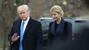 President Donald Trump and his daughter Ivanka Trump walk toward Marine One while departing from the White House, on February 1, 2017 in Washington, DC. (Credit: Mark Wilson/Getty Images)