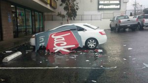 A Jack-in-the-Box sign in Sylmar was damaged amid a strong storm that hit the area on Feb. 17, 2017. (Credit: Daisy Mejia)