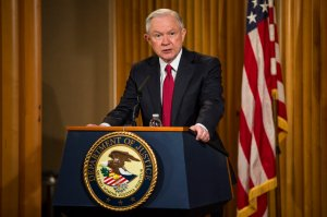 U.S. Attorney General Jeff Sessions delivers remarks at the Justice Department's 2017 African American History Month Observation at the Department of Justice on Feb. 28, 2017, in Washington, D.C. (Credit: Zach Gibson/Getty Images)