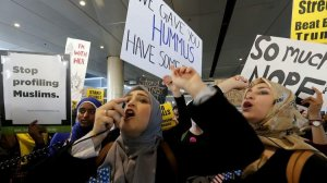 Women protest President Donald Trump's travel ban at LAX last month. (Credit: Luis Sinco / Los Angeles Times)