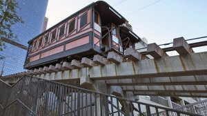 The Angels Flight funicular in downtown Los Angeles, shown in an undated photo, has been shut down since 2013. (Credit: Brian van der Brug / Los Angeles T