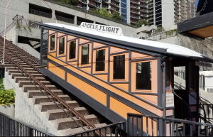 One of the Angels Flight cars is shown on March 1, 2017, when officials announced they hoped to reopen the attraction by fall. (Credit: KTLA)