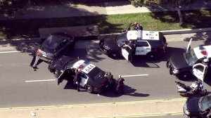 Police were involved in a standoff following a pursuit in the South Bay on March 1, 2017. (Credit: KTLA)
