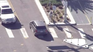 Someone appeared to throw an object at a pursuit driver in Redondo Beach on March 1, 2017. (Credit: KTLA)