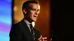 Los Angeles Mayor Eric Garcetti addresses the audience at the EMA Impact Summit in Beverly Hills, California on March 23, 2017. (Credit: FREDERIC J. BROWN/AFP/Getty Images)