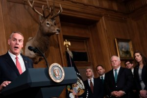 U.S. Secretary of the Interior Ryan Zinke speaks before U.S. President Donald Trump signs an executive order to review the Antiquities Act at the U.S. Department of the Interior April 26, 2017, in Washington, DC. (Credit: Brendan Smialowski / AFP / Getty Images)
