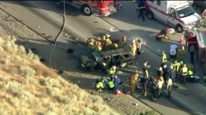 An image of the crash from Sky 5 cam footage. (Credit: KTLA)