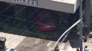 A vehicle crashed into a Starbucks in Valley Glen on July 20, 2017. (Credit: KTLA)