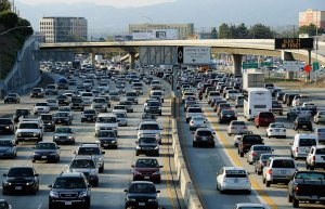 Traffic comes to a standstill on the northbound and the southbound lanes of the 405 Freeway near Los Angeles International Airport on Nov. 23, 2011. (Credit: Kevork Djansezian/Getty Images)