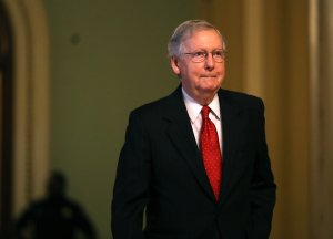 Senate Majority Leader Mitch McConnell walks to his office on July 26, 2017, in Washington, D.C. (Credit: Justin Sullivan/Getty Images)