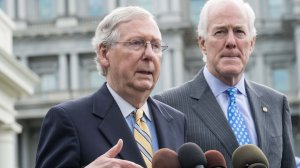 U.S. Senate Majority Leader Mitch McConnell and Majority Whip John Cornyn speak to the press outside the White House following a meeting with President Donald Trump on June 27, 2017 to discuss the GOP's efforts to repeal and replace the Affordable Care Act. (Credit: Nicholas Kamm /AFP /Getty Images)