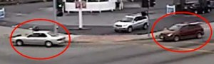 A still from surveillance video released by the Los Angeles County Sheriff's Department on July 21, 2017, shows two vehicles believed to be involved in a fatal drive-by shooting in 2015.