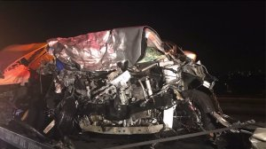 A gray Nissan Versa is seen following a deadly crash in Ventura on July 27, 2017. (Credit: KTLA)