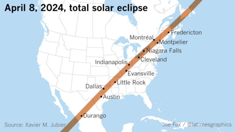 The path of the 2024 total solar eclipse. (Credit: Joe Fox / L.A. Times Graphics)