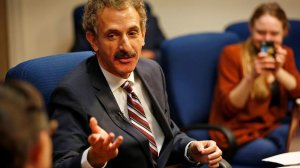 City Atty. Mike Feuer speaks on Aug. 18, 2017 about the violence that erupted at a rally in Charlottesville, Va. (Al Seib / Los Angeles Times)