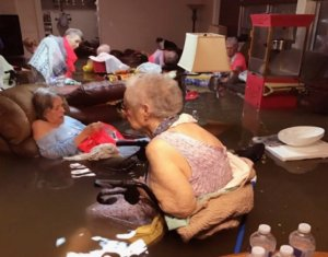 About two dozen nursing home residents were rescued in Dickinson, Texas, after waiting patiently for first responders in waist-high water on Aug. 27, 2017. (Credit: Trudy Lampson via CNN)
