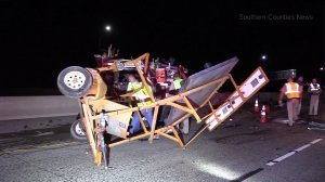 Crews respond to a fatal crash on the 91 Freeway in Anaheim on Aug. 29, 2017. (Credit: Southern Counties News)