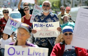 Protestors demonstrate against another round of budget cuts to Medi-Cal on September 21, 2011, in San Francisco. (Credit: Justin Sullivan/Getty Images)