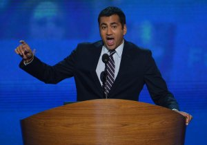 Kal Penn speaks to the audience at the Time Warner Cable Arena in Charlotte, North Carolina, on September 4, 2012 on the first day of the Democratic National Convention. (Credit: STAN HONDA/AFP/GettyImages)