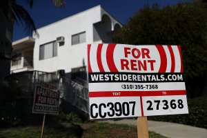 A for rent sign is posted in front of an apartment building on Feb. 1, 2017, in Los Angeles. According to the Consumer Price Index, rental prices in Southern California have spiked 4.7 percent in 2016 compared to 3.9 percent in 2015. The increase is the fastest since 2007. (Credit: Justin Sullivan / Getty Images)