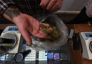 A salesman prepares an order of marijuana products at the Perennial Holistic Wellness Center, a medicinal marijuana dispensary in Los Angeles, on March 24, 2017. (Credit: MARK RALSTON/AFP/Getty Images)