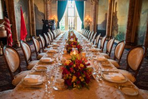 A set table at the Mar-a-Lago estate in West Palm Beach, Florida, on April 6, 2017. (Credit: Jim Watson/AFP/Getty Images)