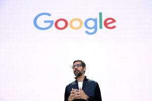 Google CEO Sundar Pichai speaks at a conference on May 17, 2017, in Mountain View, California. (Credit: Justin Sullivan/Getty Images)