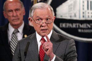 Attorney General Jeff Sessions speaks about leaks of classified information at the White House on Aug. 4, 2017. (Credit: Alex Wong/Getty Images)