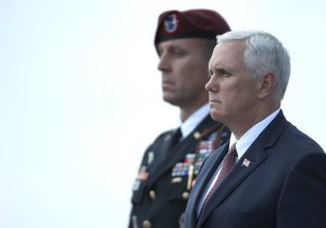 Vice President Mike Pence is seen at Dover Air Force Base on August 4, 2017, in Dover, Delaware. (Credit: Win McNamee/Getty Images)