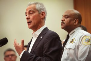 Chicago Mayor Rahm Emanuel and Chicago Police Department Superintendent Eddie Johnson announce the City of Chicago will file a federal lawsuit over the Department of Justice's actions against sanctuary cities during a press conference on August 6, 2017. (Credit: Scott Olson/Getty Images)