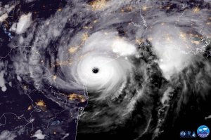 In this NOAA handout image, NOAA's GOES East satellite capture of Hurricane Harvey shows the storm making landfall shortly after 8 p.m. local time on Aug. 25, 2017, on the mid-Texas coast.