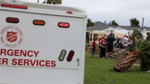 A vehicle with the Salvation Army is seen in Texas as part of the group's response to Hurricane Harvey. (Credit: Salvation Army)